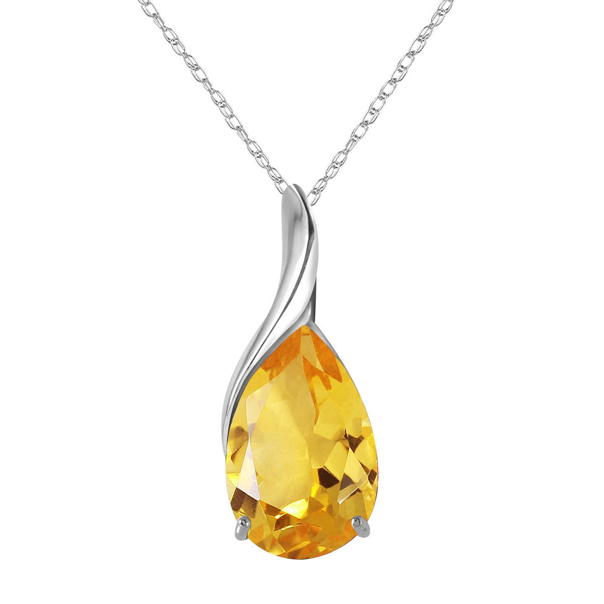Citrine Tuscany Pendant Necklace 5 ct in 9ct White Gold