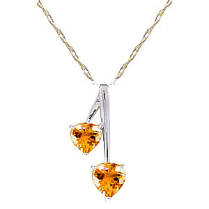 Citrine Twin Pendant Necklace 1.4 ctw in 9ct White Gold