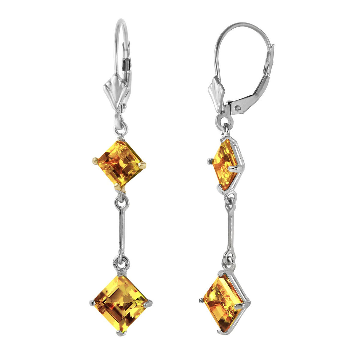 Citrine Two Tier Drop Earrings 3.75 ctw in 9ct White Gold