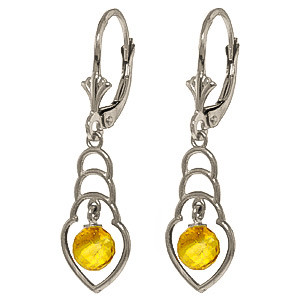 Citrine Wireframe Drop Earrings 1.25 ctw in 9ct White Gold