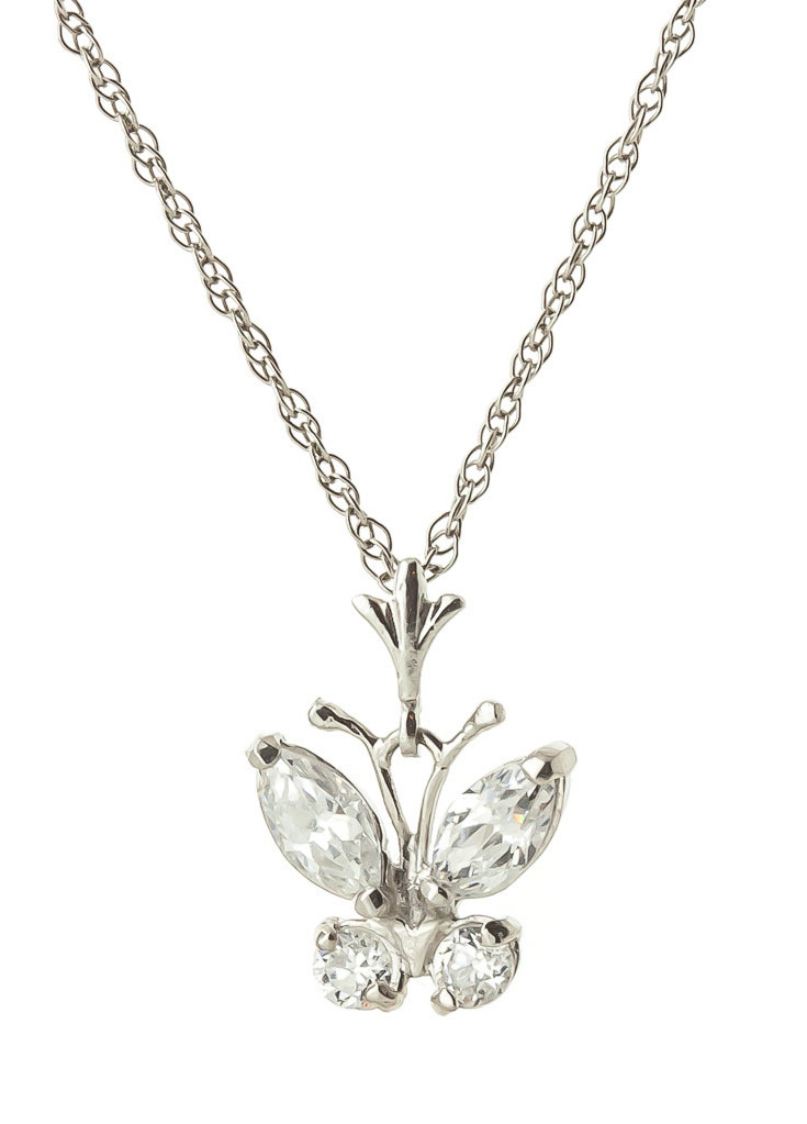 Cubic Zirconia Butterfly Pendant Necklace 1.5 ctw in 9ct White Gold