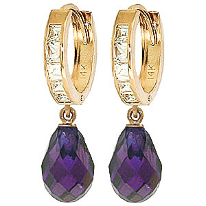 Cubic Zirconia Droplet Huggie Earrings 11.1 ctw in 9ct Gold