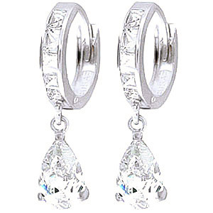 Cubic Zirconia Droplet Huggie Earrings 5.7 ctw in 9ct White Gold