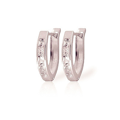 Cubic Zirconia Huggie Earrings 0.5 ctw in 9ct White Gold