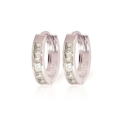 Cubic Zirconia Huggie Earrings 1.1 ctw in 9ct White Gold