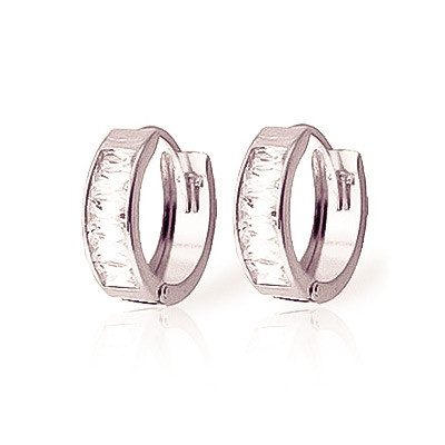 Cubic Zirconia Huggie Earrings 3.5 ctw in 9ct White Gold