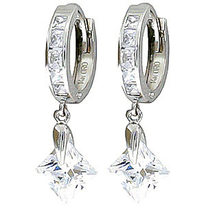Cubic Zirconia Huggie Earrings 7.58 ctw in 9ct White Gold