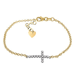 Diamond Adjustable Cross Bracelet 0.18 ctw in 9ct Gold
