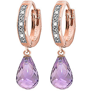 Diamond & Amethyst Wreathed Earrings in 9ct Rose Gold