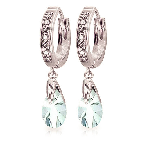 Diamond & Aquamarine Droplet Huggie Earrings in 9ct White Gold