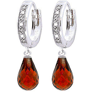 Diamond & Garnet Wreathed Earrings in 9ct White Gold