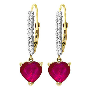 Diamond & Ruby Laced Drop Earrings in 9ct Gold