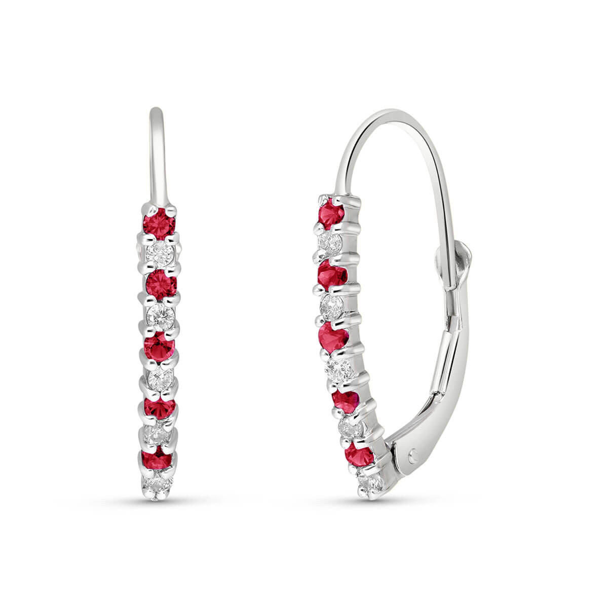 Diamond & Ruby Laced Stem Drop Earrings in 9ct White Gold