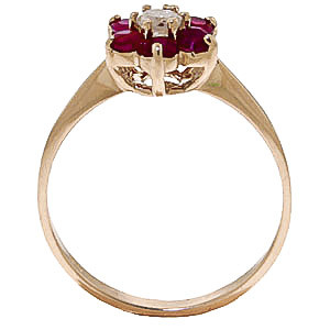 Diamond & Ruby Wildflower Cluster Ring in 9ct Gold