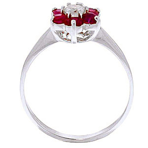 Diamond & Ruby Wildflower Cluster Ring in 9ct White Gold