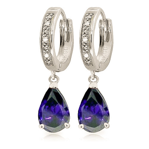 Diamond & Sapphire Droplet Huggie Earrings in 9ct White Gold