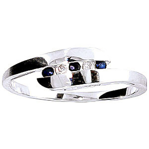 Diamond & Sapphire Precision Set Channel Set Ring in 9ct White Gold