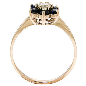 Diamond & Sapphire Wildflower Cluster Ring in 9ct Gold