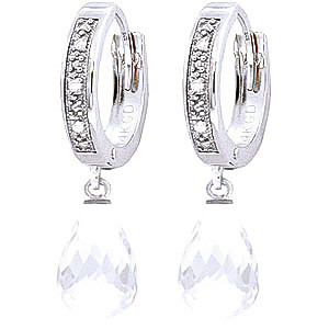 Diamond & White Topaz Wreathed Earrings in 9ct White Gold
