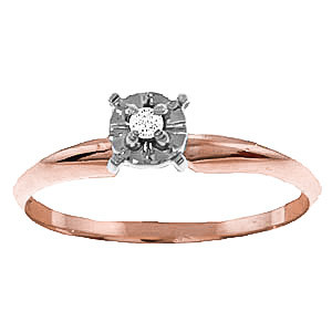 Diamond Crown Solitaire Ring 0.03 ct in 9ct Rose Gold