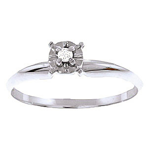 Diamond Crown Solitaire Ring 0.03 ct in 9ct White Gold