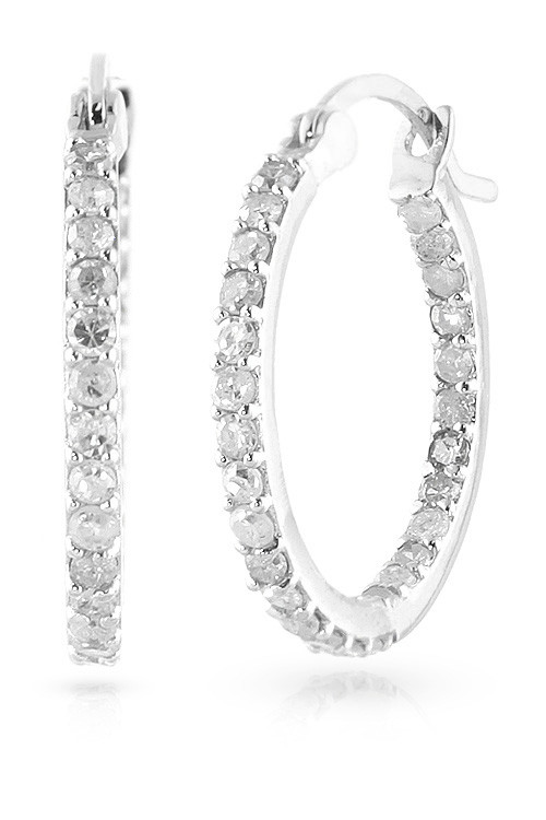 Diamond Hoop Earrings 0.75 ctw in 9ct White Gold