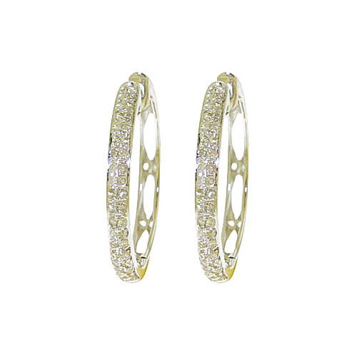 Diamond Huggie Earrings 0.35 ctw in 9ct White Gold