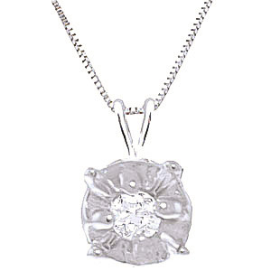 Diamond Illusion Set Pendant Necklace 0.03 ct in 9ct White Gold