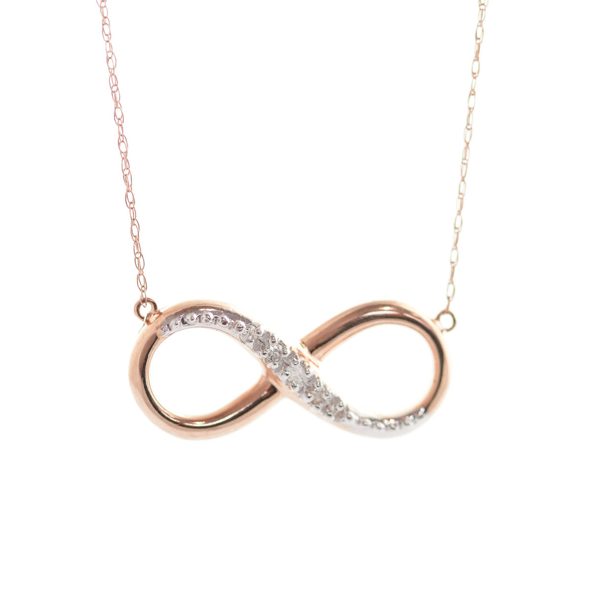 Diamond Infinite Pendant Necklace 0.03 ctw in 9ct Rose Gold