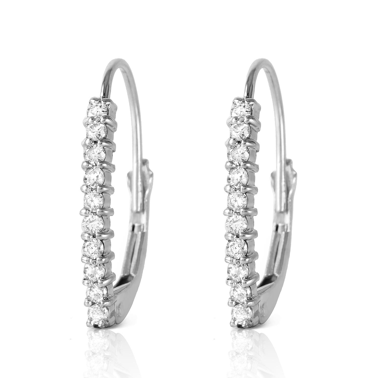 Diamond Laced Stem Drop Earrings 0.3 ctw in 9ct White Gold