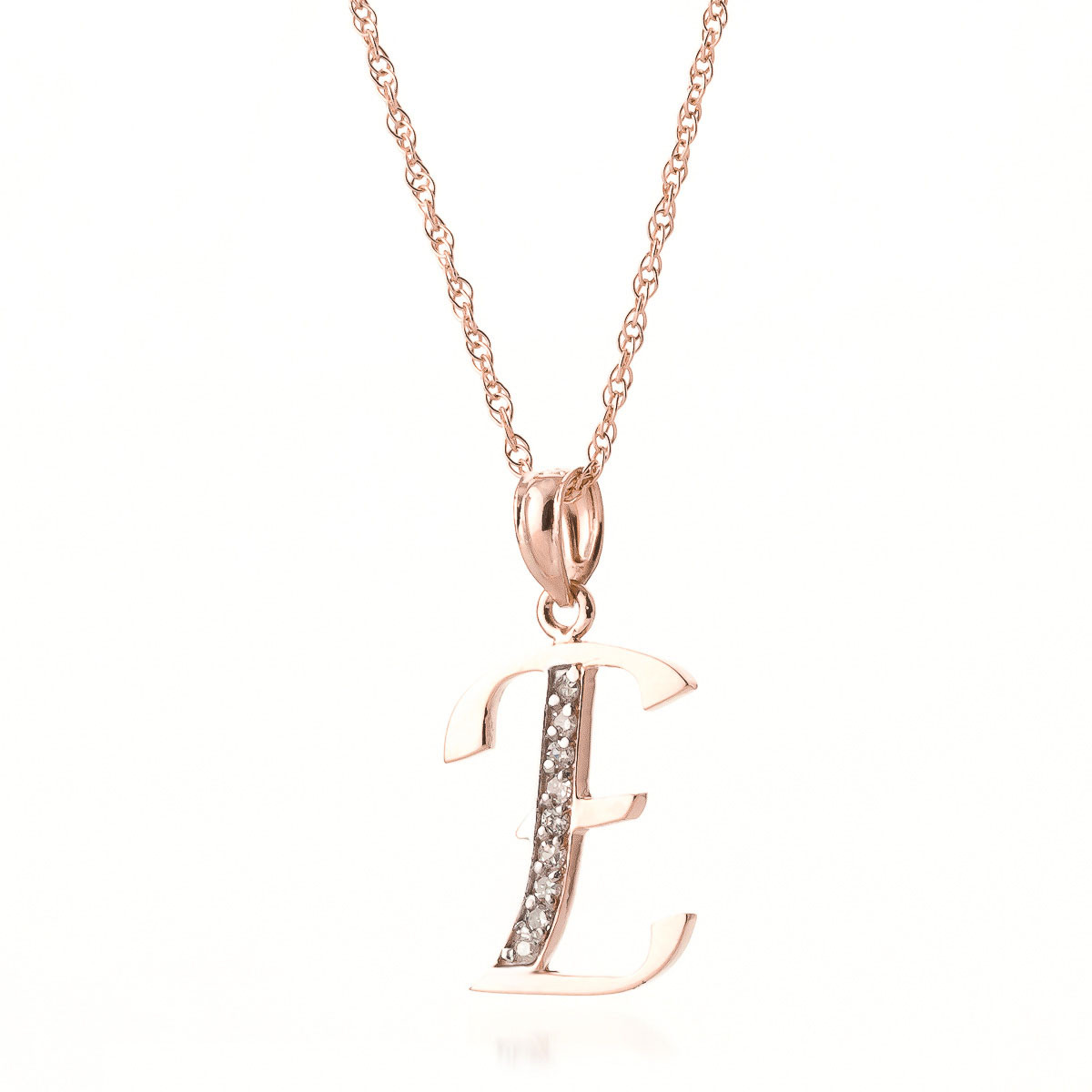 Diamond Letter Initial E Pendant Necklace In 9ct Rose Gold 5618r Qp Jewellers