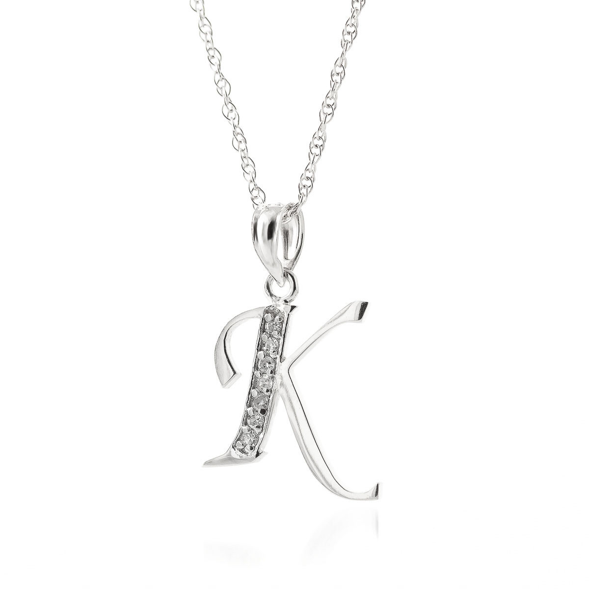 diamond letter necklace letter initial k pendant necklace in 9ct white 21360