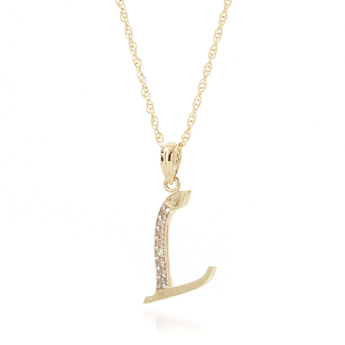 ee4cb7dd1235b Diamond Letter Initial L Pendant Necklace in 9ct Gold