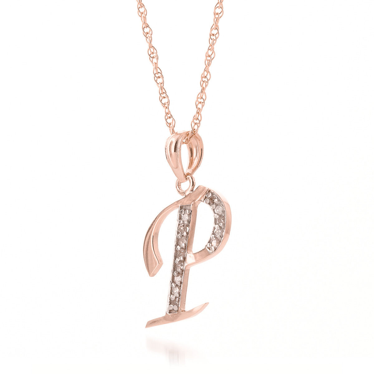Diamond Letter Initial P Pendant Necklace in 9ct Rose Gold   5629R