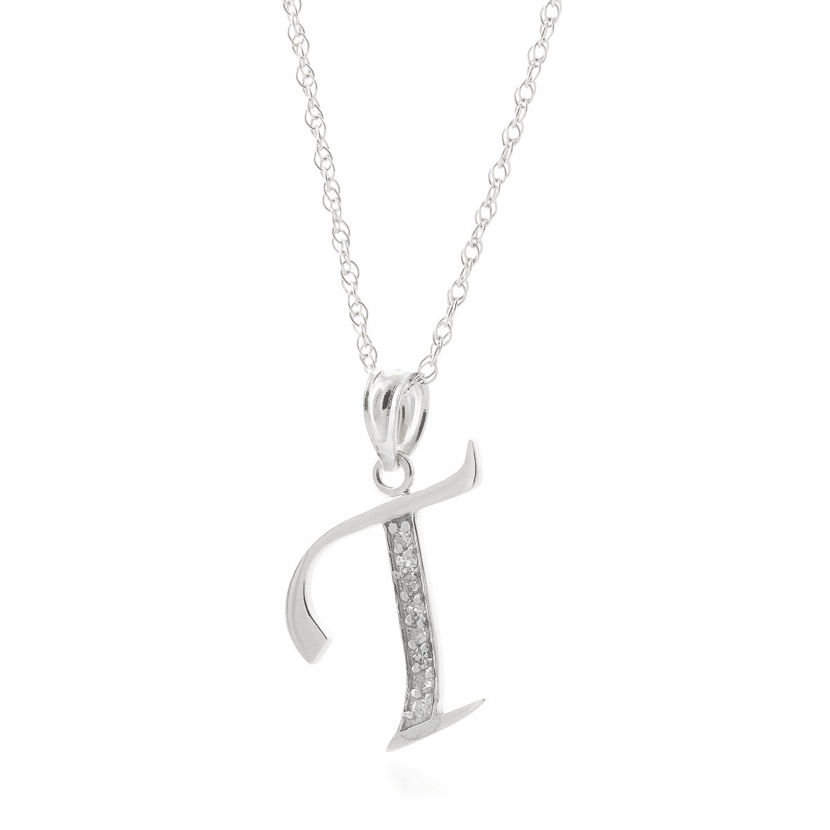 diamond letter initial t pendant necklace in 9ct white gold