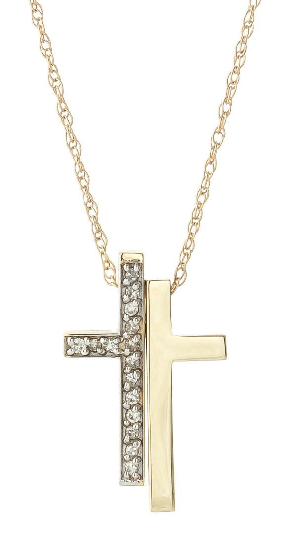 Diamond Split Cross Pendant Necklace 0.25 ctw in 9ct Gold