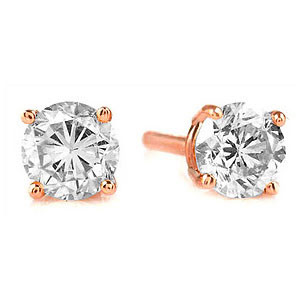 Diamond Stud Earrings 1.5 ctw in 9ct Rose Gold