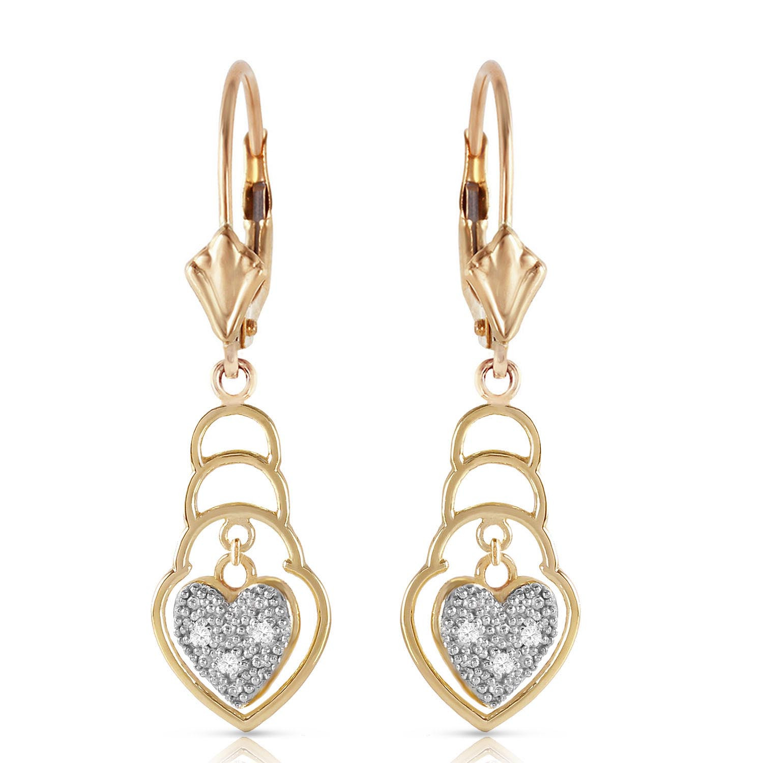 Diamond Wireframe Drop Earrings 0.03 ctw in 9ct Gold