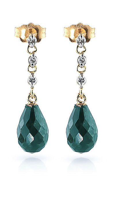 Emerald & Diamond Chain Droplet Earrings in 9ct Gold