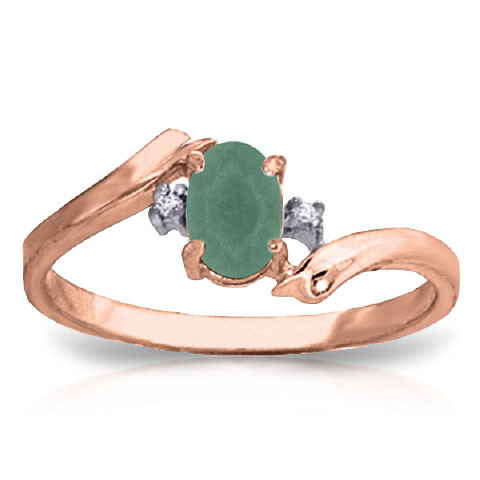 Emerald & Diamond Ring in 9ct Rose Gold
