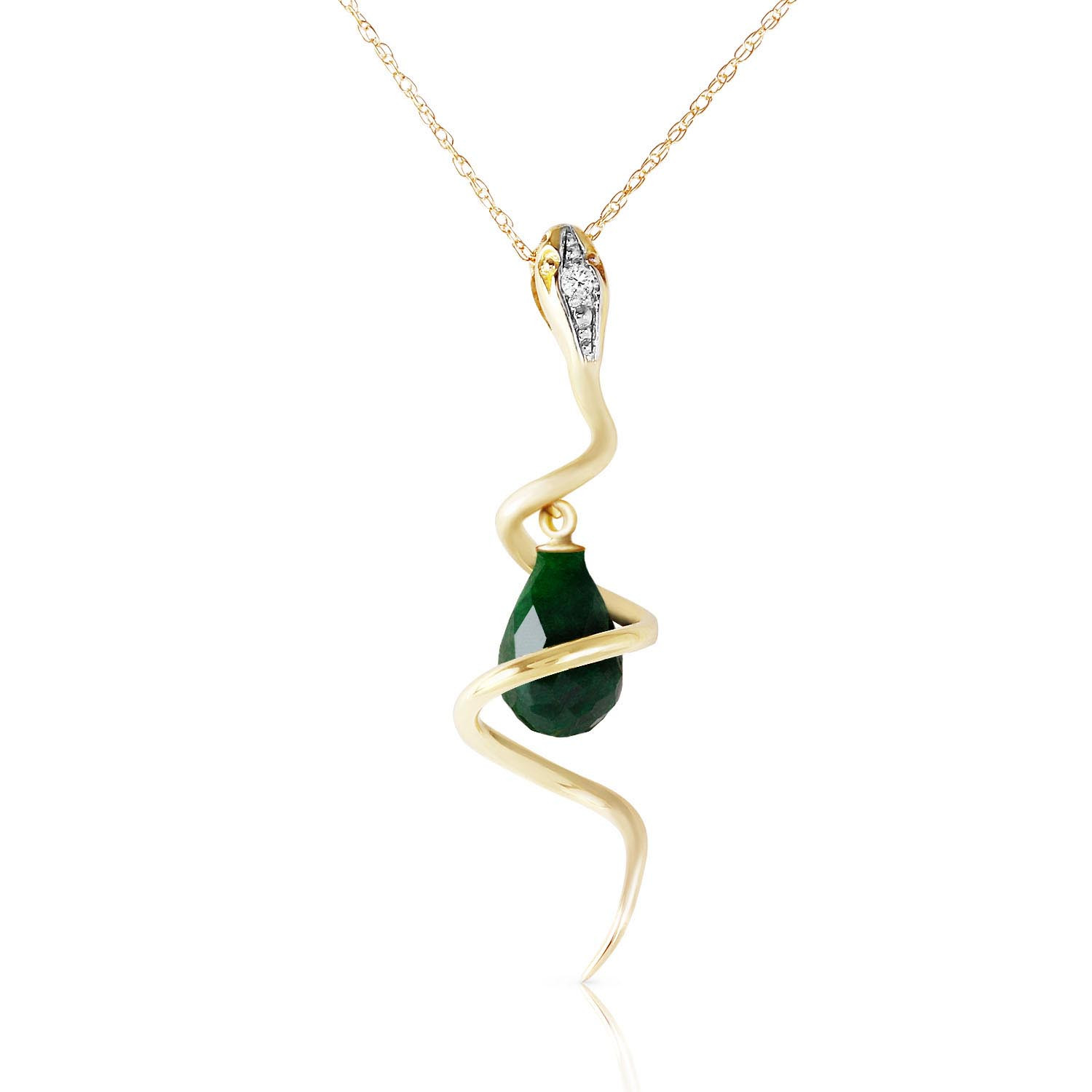 Emerald & Diamond Serpent Pendant Necklace in 9ct Gold