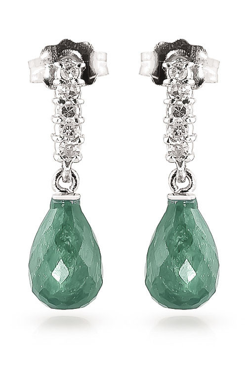 Emerald & Diamond Stem Droplet Earrings in 9ct White Gold