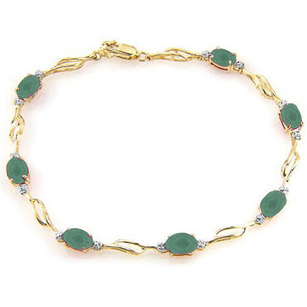 Relatively Emerald & Diamond Tennis Bracelet in 9ct Gold - 5416Y | QP Jewellers EV08