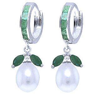 Emerald & Pearl Dewdrop Huggie Earrings in 9ct White Gold