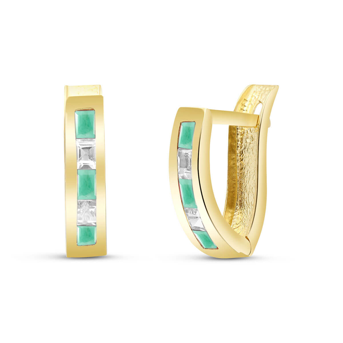 Emerald & White Topaz Acute Huggie Earrings in 9ct Gold
