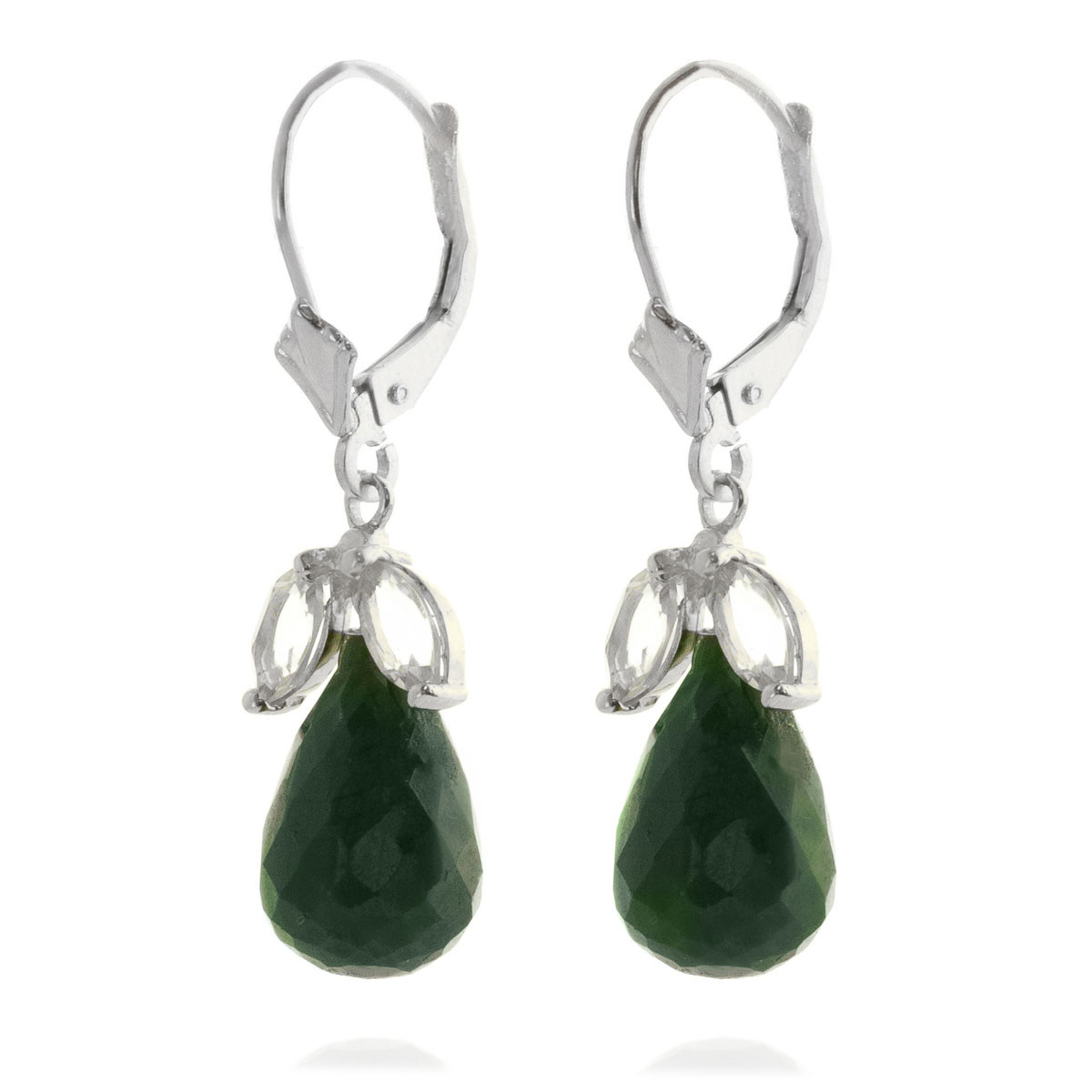 Emerald & White Topaz Snowdrop Earrings in 9ct White Gold