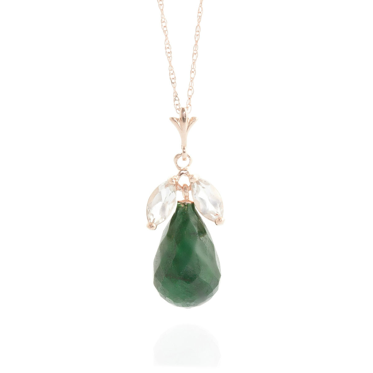 Emerald & White Topaz Snowdrop Pendant Necklace in 9ct Rose Gold
