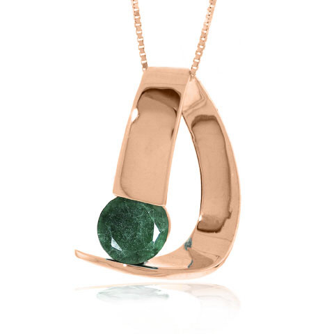 Emerald Arc Pendant Necklace 1 ct in 9ct Rose Gold