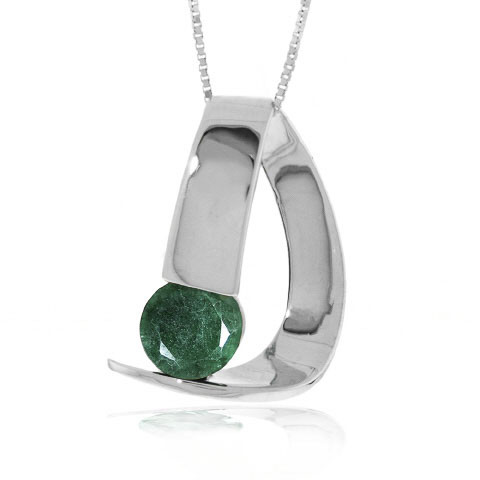 Emerald Arc Pendant Necklace 1 ct in 9ct White Gold