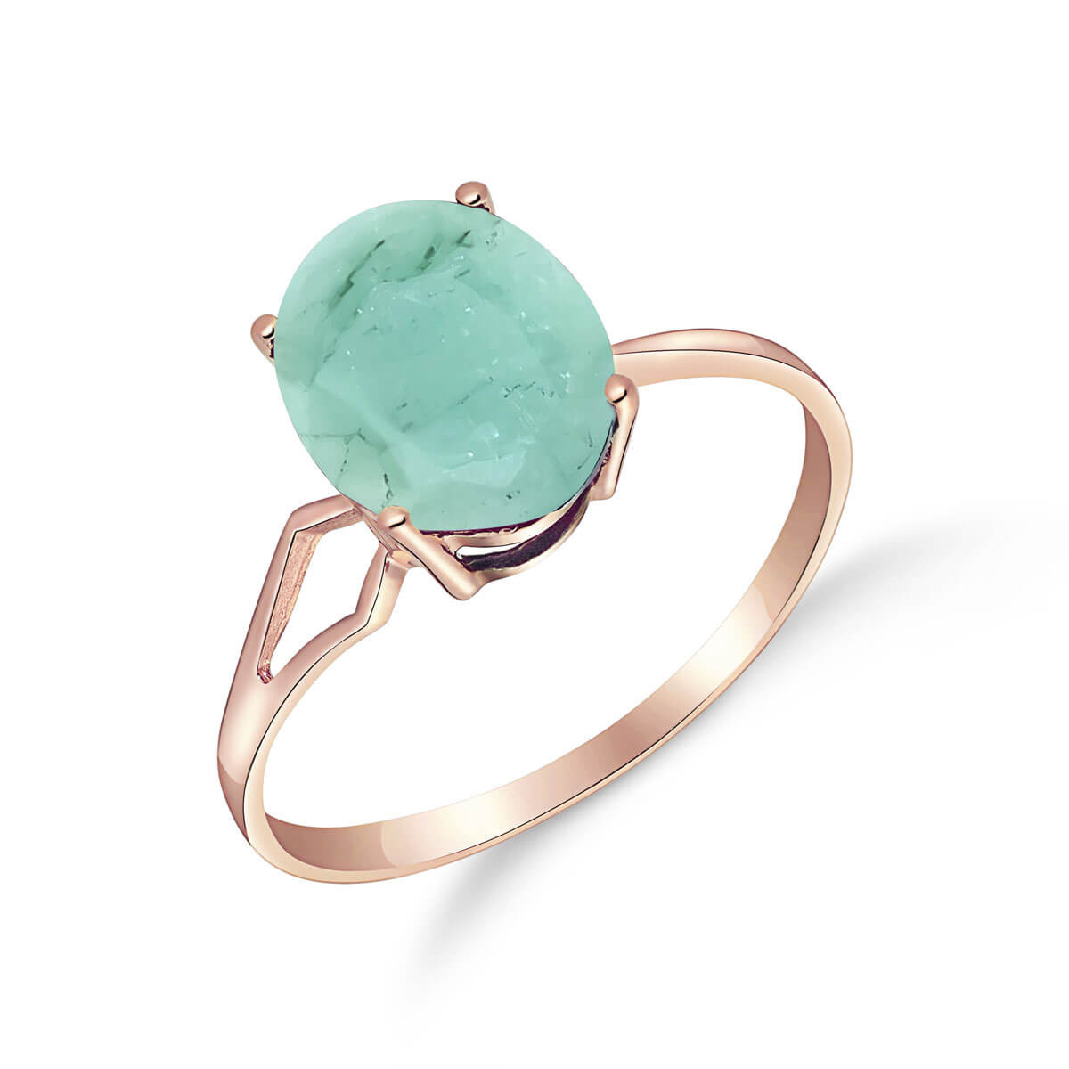Emerald Claw Set Ring 2.9 ct in 9ct Rose Gold